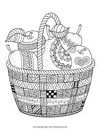 Fall Coloring Page Basket Of Apples And Pears