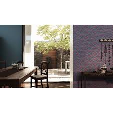 tapete linen style geometrisch anthrazit blau violett