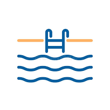 Download Swimming Pool Thin Line Icon With Stairs Ladder And Water Stock Vector