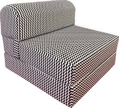 D&D Futon Furniture Black White Zigzag Sleeper Chair Folding Foam Bed Sized  6