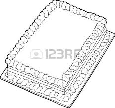 Fancy sheet cake with copy space in black outline Vector