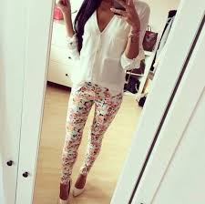 Skinny Pants Flowers Print Summer Outfits Heels High Classy Style Sun Cold Prints T