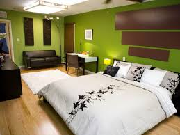 Entrancing Green Colors Wall Schemes With White Cotton Comforter Master Bed Sheet And Black Vinyl Slepeer