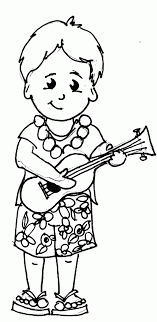Kid Form Hawaii Playing Ukulele Coloring Pages
