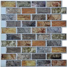 Self adhesive Mosaic Tile Backsplash Color Subway Tile Set of 6