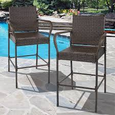Best Outdoor Patio Furniture by Best Choice Products Set Of 2 Outdoor Brown Wicker Barstool