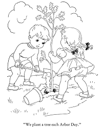 Earth Day Coloring Pages Planting Tree