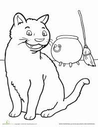 Kindergarten Holidays Seasons Worksheets Black Cat Coloring Page