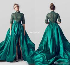cheap emerald green high neck split evening dresses half sleeves