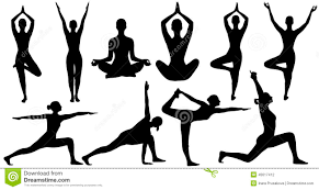Yoga Poses Woman Silhouette Isolated Over White Background