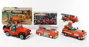 Lot 458: Battery Operated Tin Fire Trucks; Three Trucks Including ... Sh Toys Japan Battery Operated Fire Engine Amazoncom Truck Toy Rescue With Shooting Water Lights And Buy Team Large With And Sounds Bump N Go Power Dept Sold Model Car Marklin 19034 Tin Clockwork C1998 Kid Motorz 6v Red Games Trax Electric Rideon 2 Seater Kids Ride On Cars Elegant 12v Hummer Hx E Unboxing Paw Patrol Marshall Powered