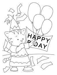 Happy Birthday Coloring Pages Free Printable Download Kids Animals Balloon Cake Bird Activity Sheets Boy Girl
