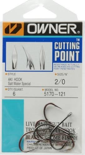 Owner Cutting Point Salt Water Special Aki Hook - Black Chrome, Size 2/0