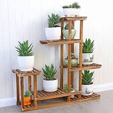 MALAYAS Wooden Plant Flower Display Stand Wood Pot Shelf Storage Rack Outdoor Indoor 6 Pots Holder