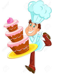 happy baker with cake Stock Vector
