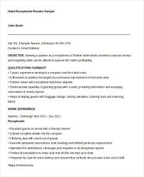 Hotel Receptionist Resume Template