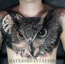 3D Owl Tattoo On Chest