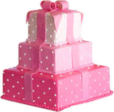 Pink Layered Present Cake