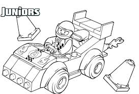 Lego Driving A Race Car Coloring Pages For Kids Printable