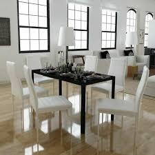 vidaxl 7tlg esstisch sitzgruppe essgruppe esszimmer tischset stuhl schwarz weiß