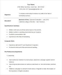 Sample Student Internship Resume