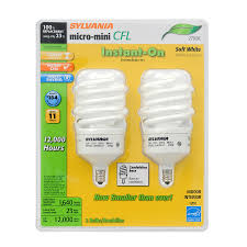 shop sylvania 2 pack 100 w equivalent soft white a19 cfl light