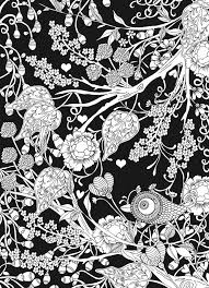 Creative Haven Midnight Garden Coloring Book Heart Flower Designs On A Dramatic Black Background By Lindsey Boylan Dover Publications SAMPLE PAGE