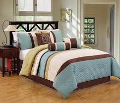 brown and blue bedding