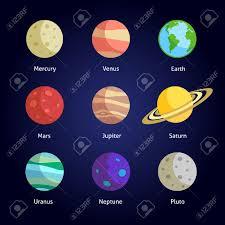 Solar System Planets Decorative Icons Set Isolated Dark