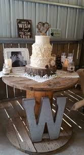 Love The Rustic Cake Setting Low Budget Wedding DIY Candles Mason Jar Vases Thrift Store Lace Fabric For Tables Wood Base