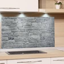 spritzschutz stein grau steinwand küchenrückwand herd glas