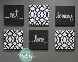 Black White Eat Drink Be Merry Wall Art 6 Pack Canvas Hanging Painting