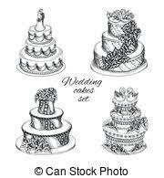 EPS 8 Vectorsby Berezovskyi7 495 Wedding cakes set Set of sweet wedding celebration cakes