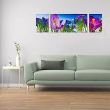 wandbilder glas 3 teilig acryl acrylglasbilder wanddeko blume violett 170x50 cm