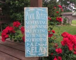Pool Rules Sign Primitive Country Wood Distressed Hand Painted Outdoor