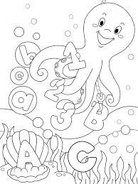 Sea Animals Clipart Coloring Pages Underwater Illustration Featuring Page That Can Colored Stock Full Size