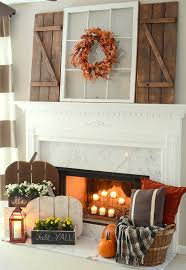 Rustic Fall Mantel With DIY Farmhouse Shutters And Wood Pumpkin Stands