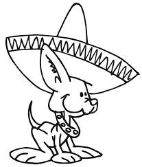 Cute Little Dog Wearing Mexican Hat Coloring Page