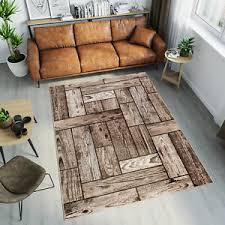details zu teppich kurzflor holzboden modern wohnzimmer design braun und grau ökotex