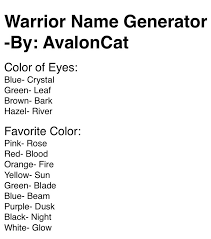 cat names 25 best warrior cat names images on warrior cats menu