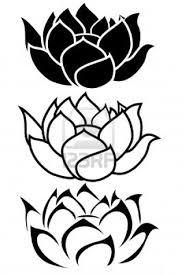 Attractive Black Outline Three Lotus Flower Tattoo Stencil On