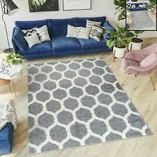 details zu designer teppich skandinavisch grau gitter marokkanisch wohnzimmer kurzflor neu