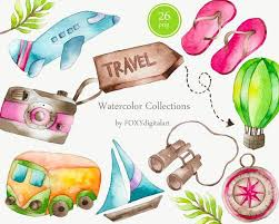 Travel Clipart Watercolor Traveling