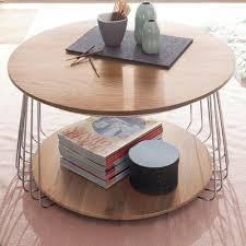 couchtisch rund eiche massiv und chrom wohnzimmer tisch beistelltisch vilnius 70 cm