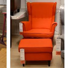 ikea strandmon wing chair footstool home furniture on carousell