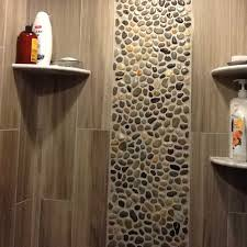 tile for shower walls with pebble tile shower wall accent