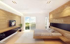 moderne schlafzimmer innenraum in holz dekoration stockfoto und mehr bilder architektur