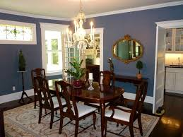 Luxuriant Blue Dining Room Victorian Wooden Varnished Sets On Floral Rug Plus Potted Plants Centerpieces Over Crystal Chandelier Also Painted