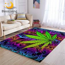 blessliving trippy wohnzimmer teppich grün blatt ahorn boden