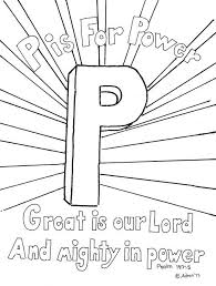 P Is For Power Coloring Page The Bible Verse Good Sunday School Or